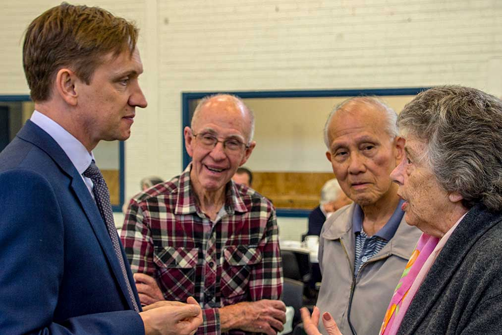 talking with local seniors